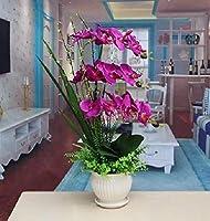 LZQBD 造花、ホームphalaenopsis人工花瓶偽装飾紫