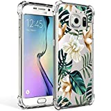 Galaxy S7 Case for Girl Clear with Tropical Flower Design Shockproof Bumper Protective Case for Samsung Galaxy S7 5.1 Inch Flexible Silicone Slim Palm Tree Leaves Floral Pattern Rubber Cover Women