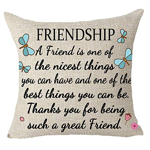 A Friend is One of The Nicest Things The Best Friendship Gift to Friends Throw Pillow Cover Cushion Case Cotton Linen Material Decorative 18X18 inches