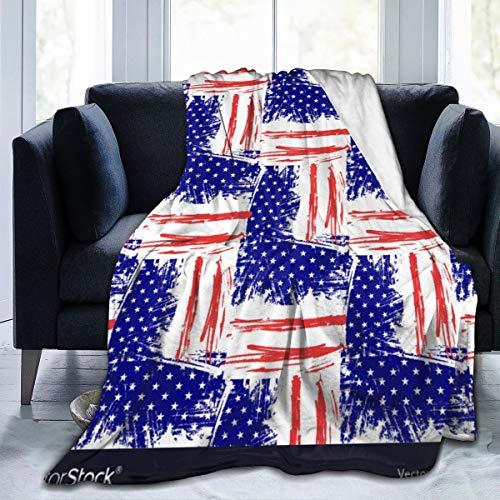 Qing_II Manta de forro polar con diseño de banderas de Estados Unidos para el Día de la Independencia de los Estados Unidos, manta suave y cálida para el invierno, 50 x 65 pulgadas, para la cama, el sofá, la oficina