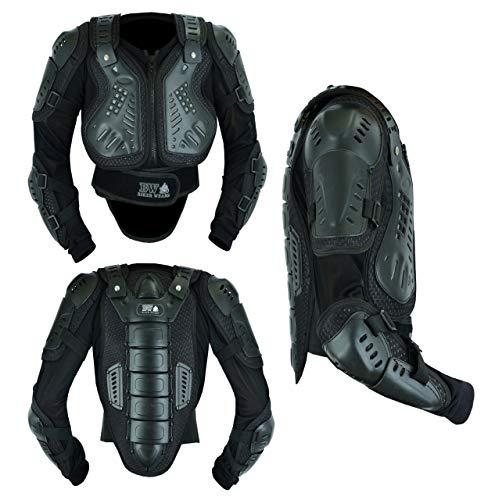 Protector de pecho para motocicleta para niños, para motocicleta, motocross, protección para el pecho, protección para la suciedad y las carreras (negro, 4XL-12-13 años)