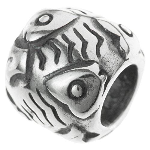 Abalorio de plata de ley 925 con forma de pez cristiano para pulsera e