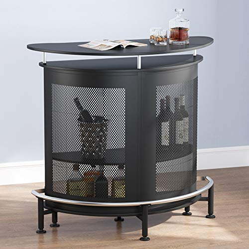 Tribesigns Bar Unit with Metal Mesh Front, Home Liquor Bar Table with Storage and Footrest (Black)