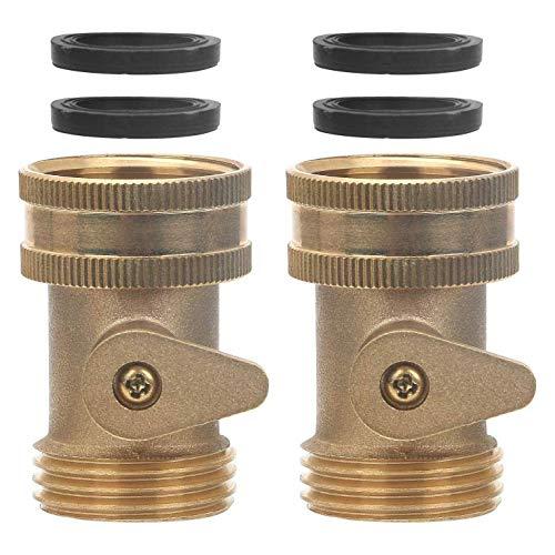 L-WSWS 3/4 Sólido desconexión de latón válvula de la manguera de jardín del conector, 2 paquetes de servicio pesado de la manguera de agua Turn Off Válvula de bola de guarniciones con 4 arandelas de l
