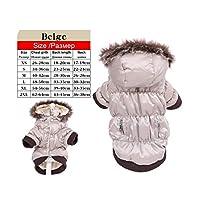 暖かい冬の犬服リムーバブルフード犬パーカーペット犬コート犬のためのジャケットテディチワワXS S M L Xl 2XL-ベージュ-XXL