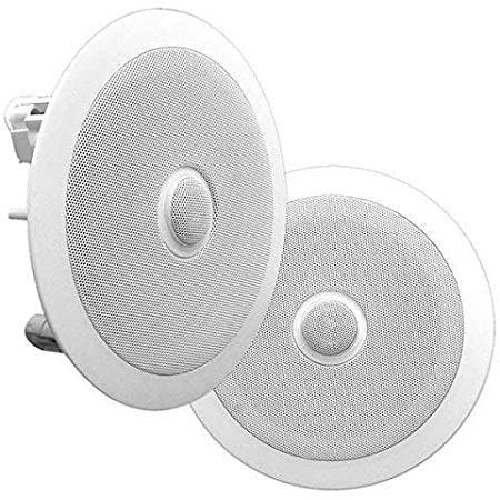 """8"""" Ceiling Wall Mount Speakers - Pair of 2-Way Midbass Woofer Speaker Directable 1"""" Titanium Dome Tweeter Flush Design w/ 55Hz-22kHz Frequency Response & 300 Watts Peak Easy Installation - Pyle PDIC80 White"""