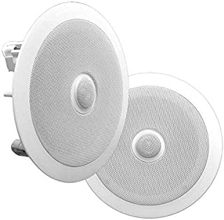 """8"""" Ceiling Wall Mount Speakers - Pair of 2-Way Midbass Woofer Speaker Directable 1"""" Titanium Dome Tweeter Flush Design w/ 55Hz-22kHz Frequency Response & 300 Watts Peak Easy Installation - Pyle PDIC80"""