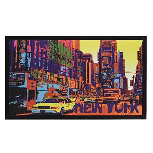 Home Line Felpudo Fotoimpreso Divertido/Original Antideslizante para Entrada, Realizado en PVC de Estilo New York 75X45 cm.
