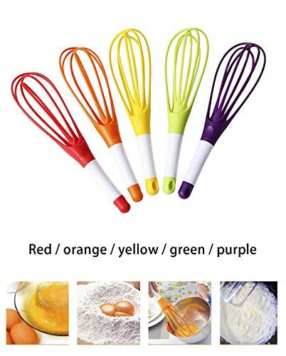 Tankle Whisk Keuken Hand Ballon Beater Mixer met Siliconen Handvat voor Ei en Melk (Kleur : Rood)