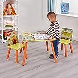 Mesa y sillas Liberty House Toys TF4808, Mesa Cuadrada, Dos sillas, decoración de Safari