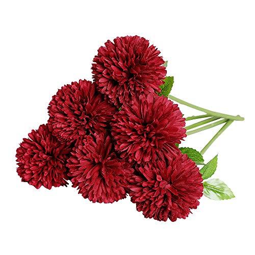 Tifuly Künstliche Hortensie Blumen, 11 Zoll Seide Pompon Chrysantheme Kugel Blumen für Hausgarten Party Büro Dekoration, Braut Hochzeitssträuße, Blumenschmuck, Mittelstücke(Rot)