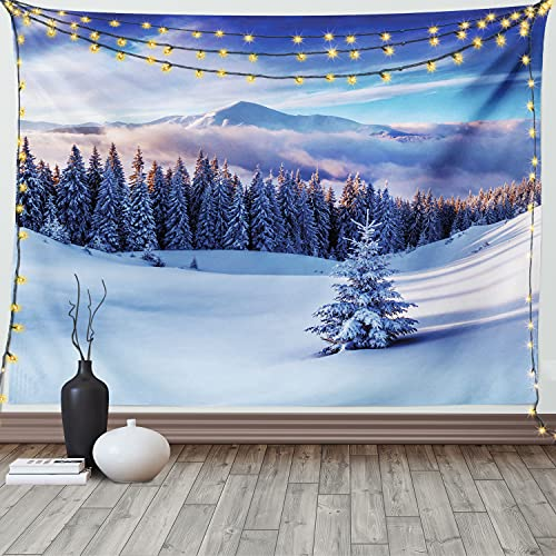 Ambesonne Winter Tapestry, Surreal Winter Scenery with High Mountain Peaks and Snowy Coniferous Pine Trees, Wide Wall Hanging for Bedroom Living Room Dorm, 60' X 40', Blue White