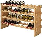 Botellero Apilable de Madera de Bambú para 36 Botellas de Vino Estante para Botellas de Vino Organizador de Vino 85x21x57cm