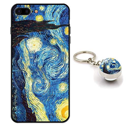 Staremeplz Cover iPhone 8 Plus Van Gogh Notte Stellata Custodia per iPhone 7 Plus/iPhone 8 Plus [con Portachiavi] Silicone Sottile Morbido TPU Case Protettivo Antiurto Cassa Custodie Arte