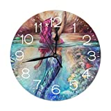 FEAIYEA Wall Clock Sea Mermaid Decorative Wall Clock Silent Non Ticking - 9.8Inch Round Easy to Read Decorative for Home/Office/School Clock