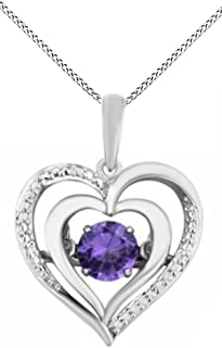 Simulated Amethyst & White Natural Diamond Accent Double Heart Pendant in 925 Sterling Silver