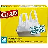 Glad Tall Kitchen Handle-Tie Trash Bags - 13 Gallon White Trash Bag - 50 Count