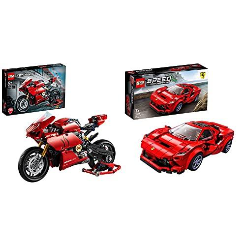 Lego 42107TechnicDucatiPanigaleV4RMotocicletaModeloDeExposiciónColeccionableMotoSuperbike + 76895 Speed Champions Ferrari F8 Tributo Juguete De Construcción De Icónico Coche De Carreras