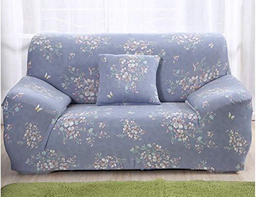 JNBGYAPS Impresión Funda para Sofá en Forma de L Flor Azul Protector a Prueba de Polvo para Sofá Esquinero Estiramiento Sofá Cubiertas de Poliéster (4 plazas)