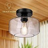 Semi Flush Mount Ceiling Light, Farmhouse Light Fixture with LED Bulb 750 LM, Ceiling Light Fixture with Clear Glass Lamp Shade for Bedroom Hallway Dining Room Bathroom Corridor Passway