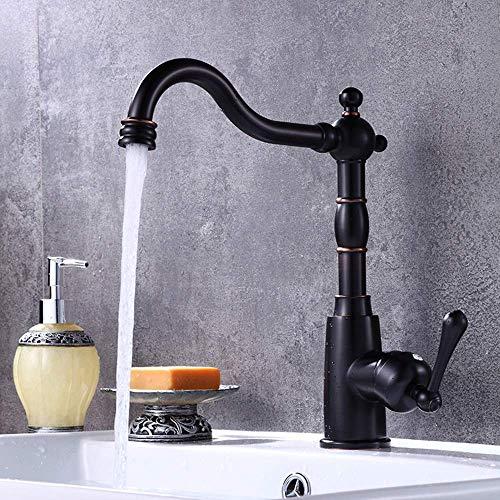 DJY-JY Alta gama negro lavabo grifo cobre negro antiguo mesa lavabo grifo agua caliente y fría grifo cobre bastante cocina