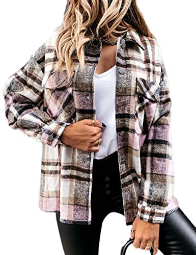 Damen Kariertes Hemd Mantel Knopf Runter Langarm Blusenshirt Boyfriend Plaid Jacke Shirt Freizeithemd Outwear Pink und Braun S