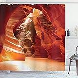 Sosun Cortina de Ducha Americana, Cueva del Gran Cañón en Colorado Majestic USA impresión de Imagen de Paisaje Natural, Conjunto de decoración de baño de Tela con Ganchos, Rojo Naranja marrón