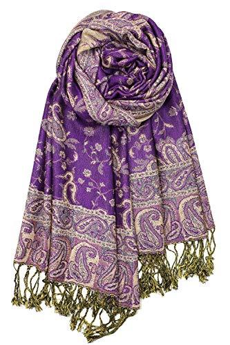 Achillea Soft Silky Reversible Paisley Pashmina Shawl Wrap Scarf w/Fringes (Purple)