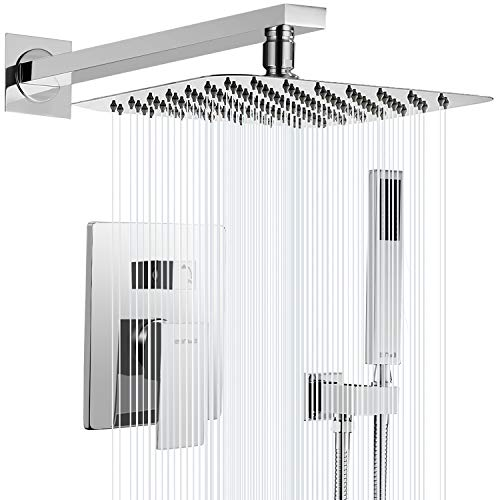 ESNBIA Chrome Shower System,10 Inches Shower Faucets Sets Complete (Shower Valve Included),Rain Shower Head Systems Wall Mounted Shower Combo Set for Bathroom All Metal(Rough in Valve Include)