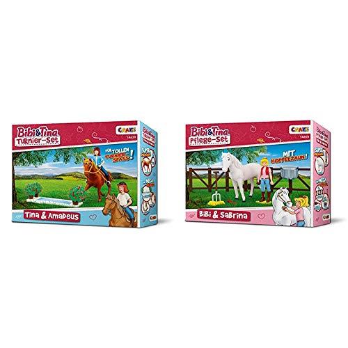 CRAZE BIBI & Tina Turnier-Set Spielfiguren Pferdefiguren Tina und Amadeus mit Zubehör Spielzeug 14639 & 14608 Set Bibi & Sabrina Tina BIBI & Tina Pflege Pferdeset Pferdefiguren Spielfiguren