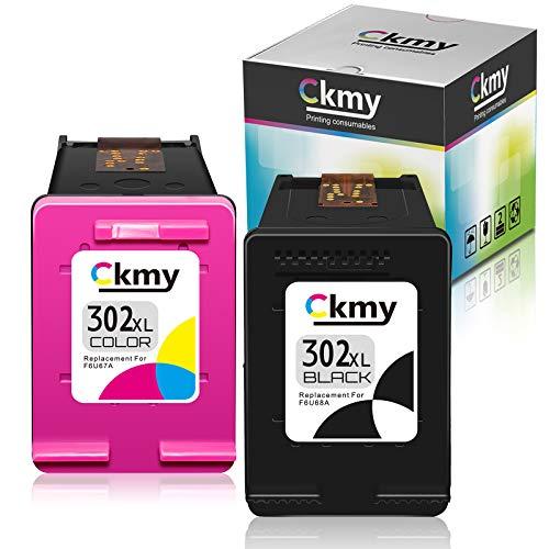 CKMY Remanufactured für HP 302XL 302 XL Druckerpatronen SCHWARZ & Farbe für HP Officejet 3830 3831 3833 4650 4651 4652 4654 4655 4658 4650 5232 DeskJet 3630 3636 3639 Envy 4522 4523 4524 4527