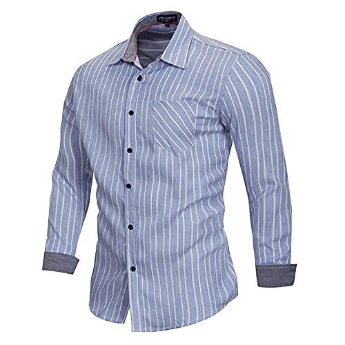 pamkyaemi Camisa vaquera para hombre, con solapa, elástica, a rayas, de manga larga, vaquera, corte regular,...