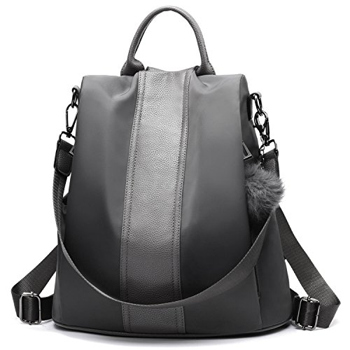 Women Backpack Purse Waterproof Nylon Anti-theft Rucksack Lightweight Shoulder Bag (Gray)