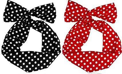 Boolavard Retro Bowknot Polka Dot Fil Tête Arcs Bandeau Porte-Cheveux pour Femmes Filles (Noir et Rouge - Paquet de 2)