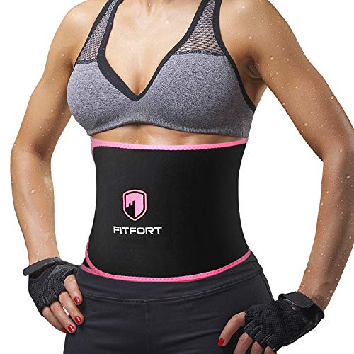 FITFORT Sweat Band Waist Trainer for Women - Waist Trimmer Belt for Weight Loss and Slimming,Sweat Belt with Tummy Control & Sauna Suit Effect,Black/Pink