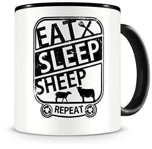 Samunshi® Schaf Tasse mit Spruch Eat Sleep Sheep Repeat Geschenk für Schäfer Kaffeetasse groß Lustige Tassen zum Geburtstag schwarz 300ml