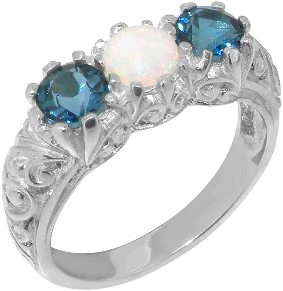 925 Sterling Silver San Antonio Mall Max 90% OFF Natural Opal Womens London Tril Topaz Blue