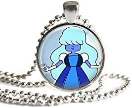 Steven Universe Sapphire Necklace 1 inch Silver Plated Picture Pendant