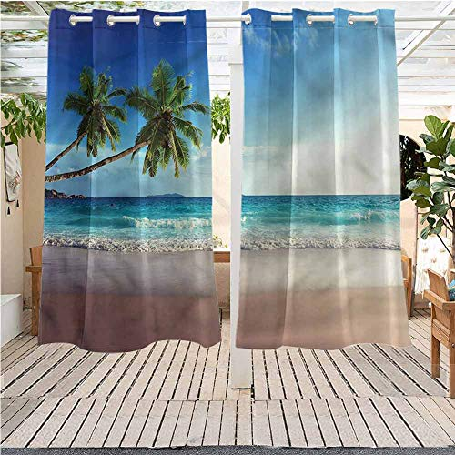 Seashore Indoor/Outdoor Curtains Scenic Island View Trees for Patio/Front Porch 120x84 INCH