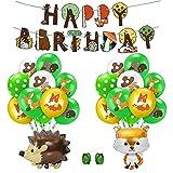 Jolintek Selva Fiesta de Cumpleaños Infantil Decoracion de Animales La Selva Feliz Cumpleaños Banner, Zorro Ardilla Globos Aluminio y Temática Bosque Animal Latex Globos para Cumpleaños, Baby Shower