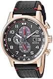 Citizen Men's Eco-Drive Stainless Steel Japanese-Quartz Watch with Leather Calfskin Strap, Black...