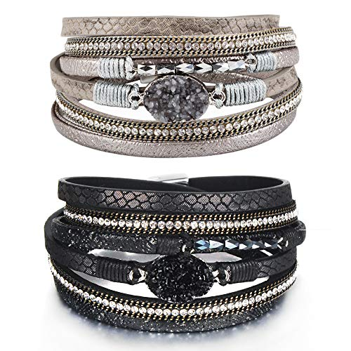 ht bracelets Leather Wrap Bracelet Boho Cuff Bracelets Crystal Bead Bracelet with Magnetic Clasp for Women Handmade Layered Bracelet for Women Teens(14.7
