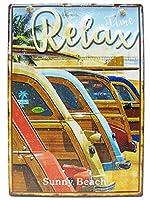 アメリカン レトロデイズ ブリキ看板/西海岸 リラックス Relax(ATZ 105)エンボス(凸凹)40cm サーフ看板 サーフィン ティンサイン メタルサイン 看板 ショップ ガレージ アメリカ雑貨 看板 アメリカン雑貨