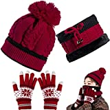 Whaline Knit Neck Scarf Face Warmer Beanie Hats Headwear Tube Gloves Set Touch Screen Snowflake Gloves Stretchy Knit Beanie Cap Elastic Neck Warmer with Fleece Lined for Men and Women (Dark Red)
