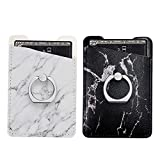 Two Pack Phone Card Holder with Ring uCOLOR Black White Marble PU Leather Wallet Pocket Credit Card ID Case Pouch 3M Adhesive Sleeves Sticker Grip Compatione with iPhone Xs XR 7 8 Plus
