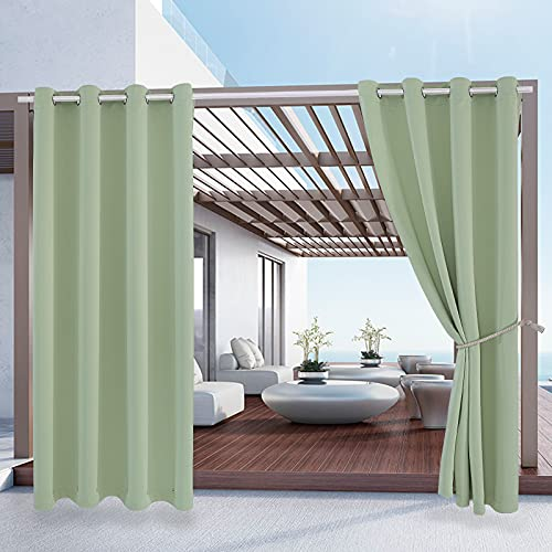 230GSM Waterproof Pergola Curtains W52 x L84 - 2 Panels Grommet Top Sunlight Blocking Heavy Duty Window Treatment Drapes Blackout Curtains for Home Bedroom Outdoor Patio Porch Cabana Gazebo Backyard