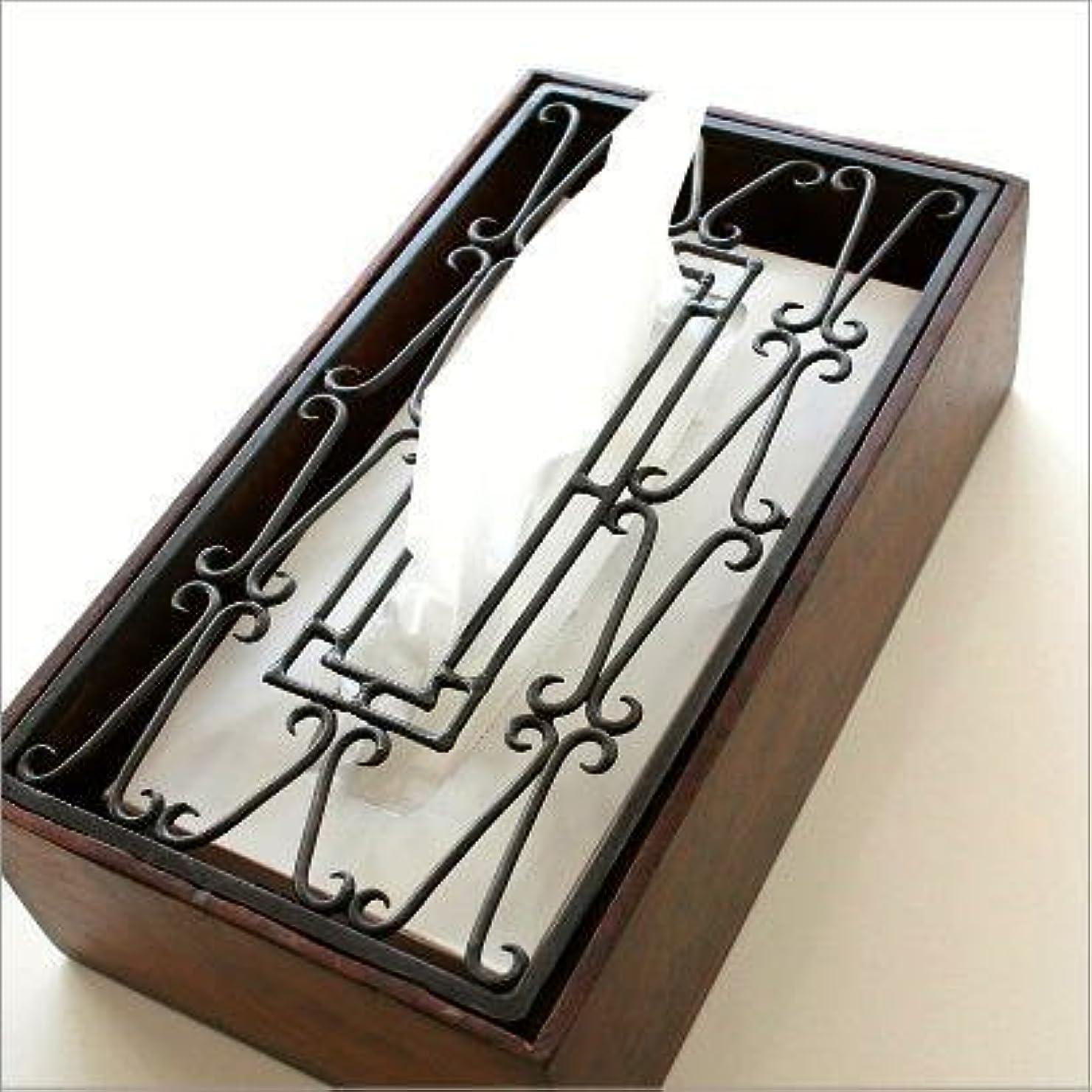 インタビュートリッキーヨーロッパアイアンティッシュケース おしゃれ 天然木 木製 アンティーク風 アイアンティッシュケースボックス D [kan2310]