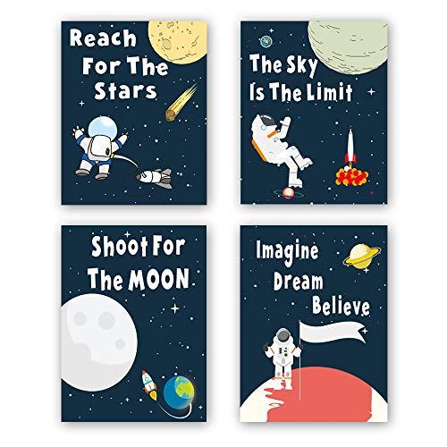 Unframed Universe Art Print Cartoon Space Planet themed Wall Poster Painting,Set of 4(8' x10' )Canvas Kids Inspirational Wall Art For Nursery Decor