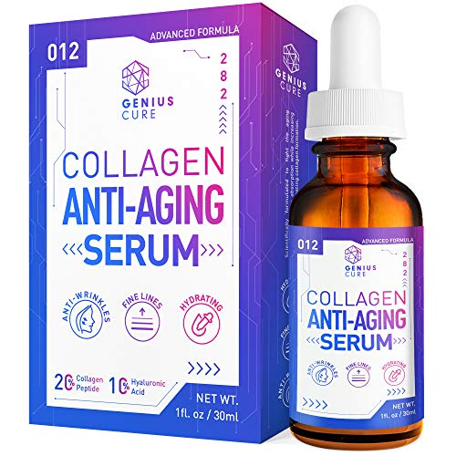Collagen Anti-Aging Serum - The Smart Anti-Aging Serum Reduces Signs of Lines & Wrinkles - Facial Serum 1oz - Hydrating & Moisturizing by GENIUS