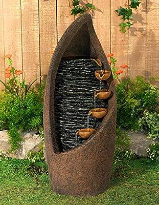 "Modern Cascade Rustic Outdoor Floor Water Fountain with Light LED 34 1/2"" High Southwestern Cascading for Yard Garden Patio Deck Home - John Timberland"